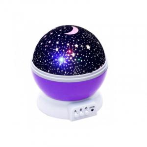 Lampa de Veghe BTG-090 cu Proiector Rotativ Stele 360 Star Master Alb-Mov [0]