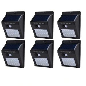 Set format din 6 lampi solare de perete cu senzor de miscare si lumina cu 30 leduri [0]
