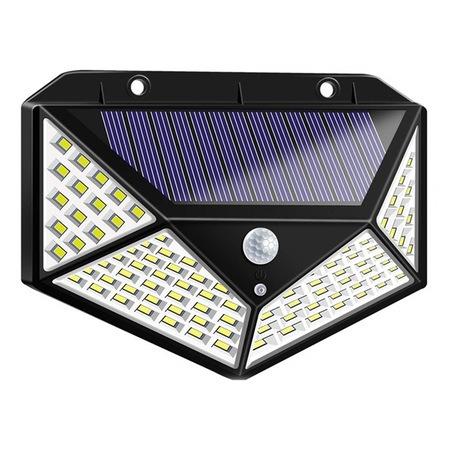 Lampa solara tripla,100 LED-uri HS-008, 1000 lumeni, panou solar polisiliciu, rezistena la apa, senzor de miscare si lumina, unghi luminare 270 grade, 2200mAh, negru [1]