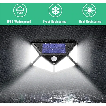 Lampa solara tripla,100 LED-uri HS-008, 1000 lumeni, panou solar polisiliciu, rezistena la apa, senzor de miscare si lumina, unghi luminare 270 grade, 2200mAh, negru [0]