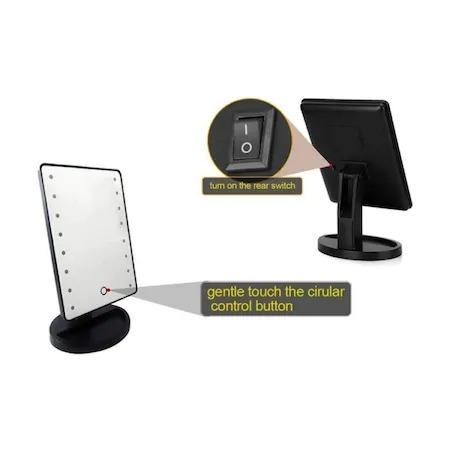 Oglinda cu led pentru machiaj, Barste, functie touchscreen Negru [7]