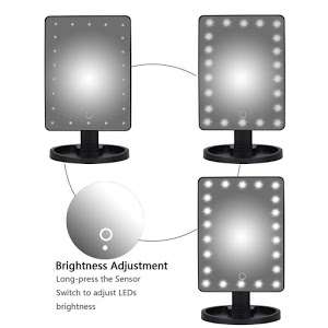 Oglinda cu led pentru machiaj, Barste, functie touchscreen Negru [4]