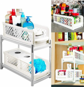 Organizator pentru bucatarie sau baie cu 2 rafturi portabile glisante [1]