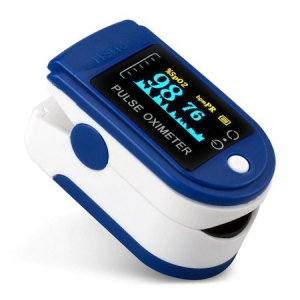 Pulsoximetru OXIMETER masoara saturatia oxigenului din sange si pulsul cardiac, display LED, alimentare baterii, alb cu albastru [0]