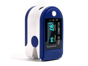 Pulsoximetru OXIMETER masoara saturatia oxigenului din sange si pulsul cardiac, display LED, alimentare baterii, alb cu albastru [1]