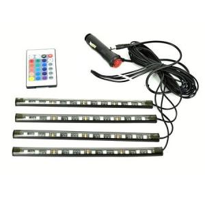 Kit Iluminare Ambientala 12 LED Interior Masina, Multicolor RGB cu Telecomanda [5]
