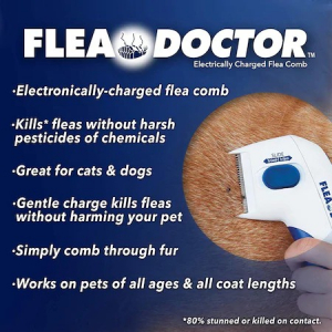 Aparat electric contra puricilor pentru caini, pisici si alte animale, Flea Doctor, Alb cu albastru [4]