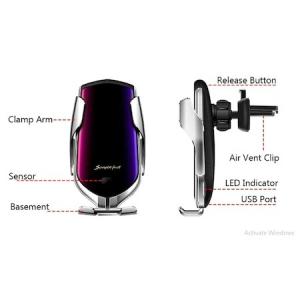 Incarcator Wireless Auto universal, cu Senzor inteligent, suport SMART Fast Charger 10W, clema prindere ventilatie [4]