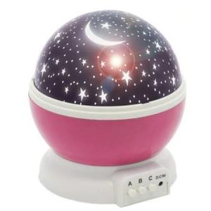 Lampa de Veghe BTG-090 cu Proiector Rotativ Stele 360 Star Master Alb-Roz [0]