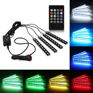 Kit Iluminare Ambientala 12 LED Interior Masina, Multicolor RGB cu Telecomanda [3]