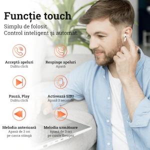 Casti Bluetooth Wireless PRO, compatibile iOS si Android, Carcasa cu incarcare wireless, Clona, TWS Pro, Bluetooth 5.0, Sunet HiFi, Functie Touch,Roz [2]