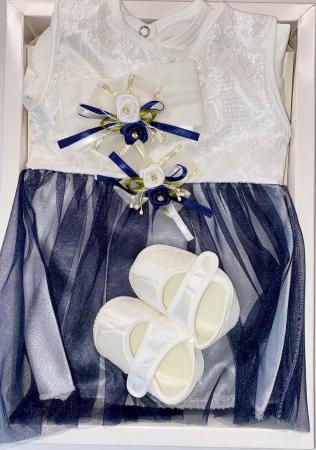 Set Botez pentru fetite Rochita Alb/Blue 1021 [1]