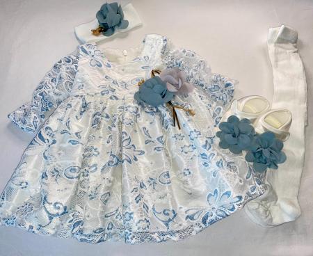 Set Botez pentru fetite Rochita Alb/Blue 610 [1]