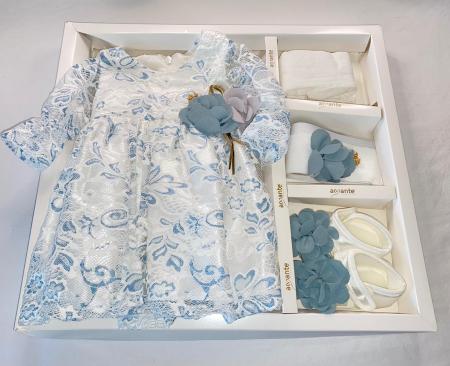 Set Botez pentru fetite Rochita Alb/Blue 610 [2]