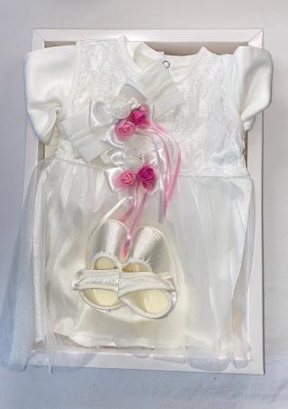 Set Botez pentru fetite Rochita Alb/Pink 1009 [1]