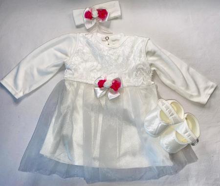 Set Botez pentru fetite Rochita Alb/Pink 1012 [1]