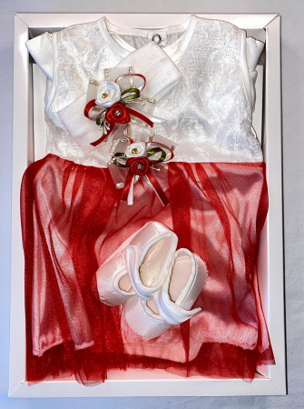 Set Botez pentru fetite Rochita Alb/Red 1021 [1]