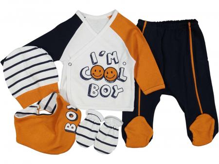 Set de maternitate pentru bebelusi nou nascuti 10 piese, 100% bumbac Cool Boy Orange [1]