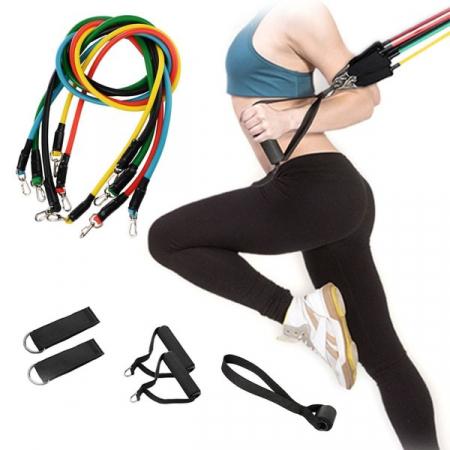 Sistem de antrenament fitness cu corzi extensibile, prinderi multiple, 11 piese [1]