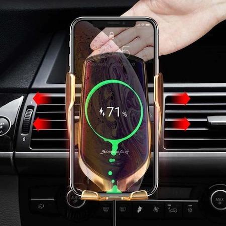 Suport telefon auto cu incarcare wireless, smart sensor, fast charge Gold [4]