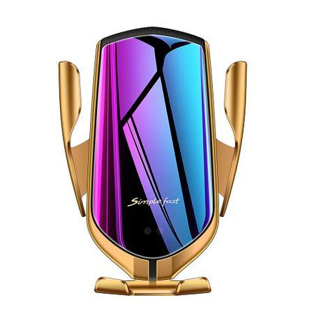 Suport telefon auto cu incarcare wireless, smart sensor, fast charge Gold [0]
