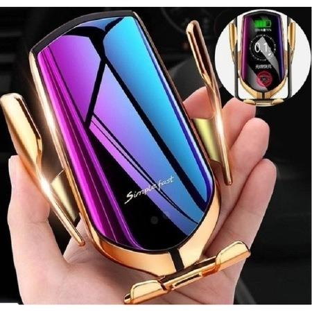 Suport telefon auto cu incarcare wireless, smart sensor, fast charge Gold [1]