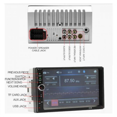 Mp5 player auto 7018b, 2 DIN Touch screen 7, Bluetooth USB [2]