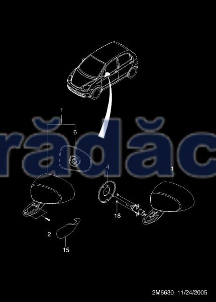 Geam oglinda stg -  Primed cod 93743390 0