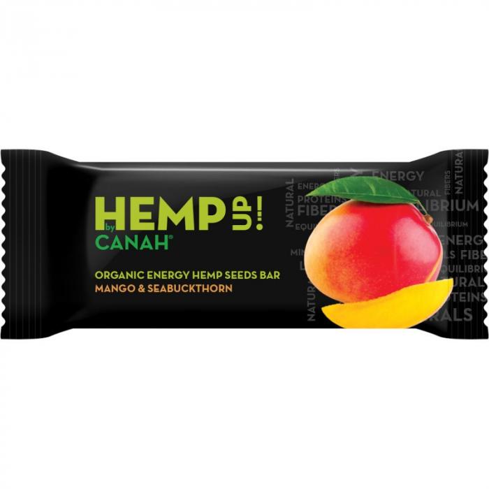 Baton energizant Hemp uP cu seminte de canepa, mango si catina ECO 0