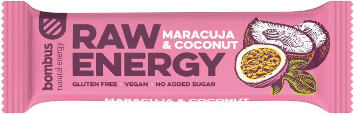 Baton proteic Raw Energy cu maracuja si nuca de cocos 50 g [0]