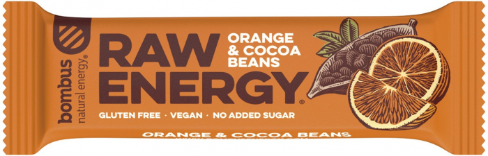 Baton proteic Raw Energy cu portocale si boabe de cacao 50 g [0]