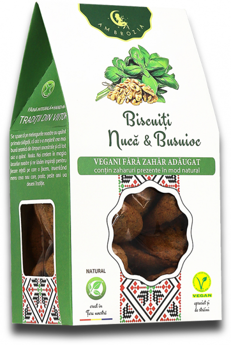 Biscuiti vegani nuca & busuioc 150g [0]