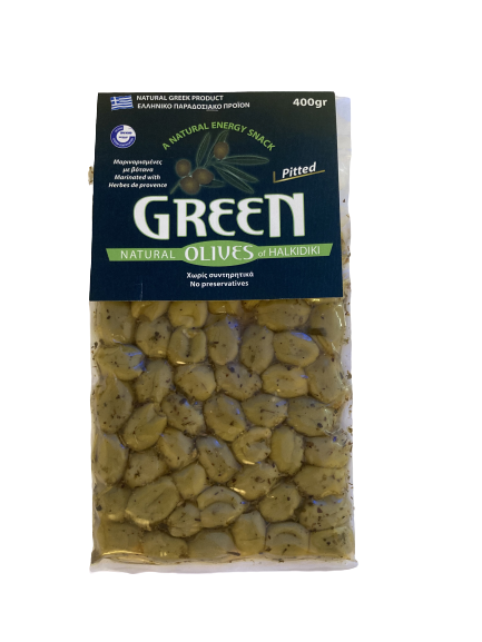 Masline verzi fara samburi cu ierburi Provence 400 g 0