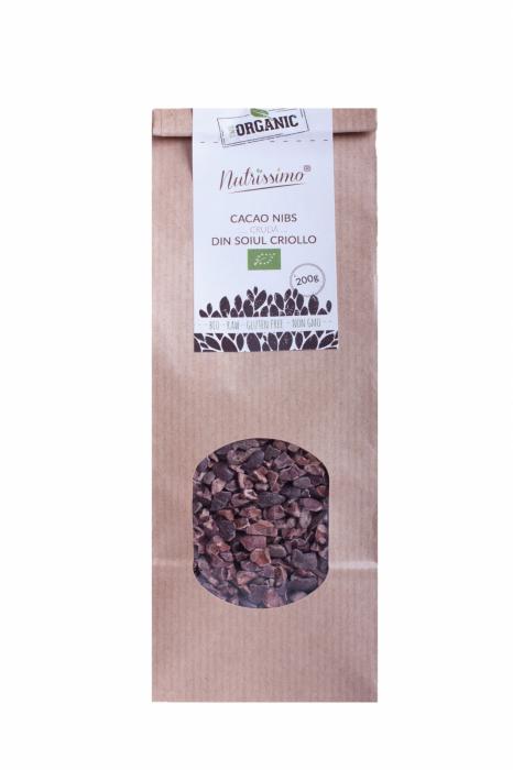 Miez boabe de cacao raw Criollo ECO 200 g 0