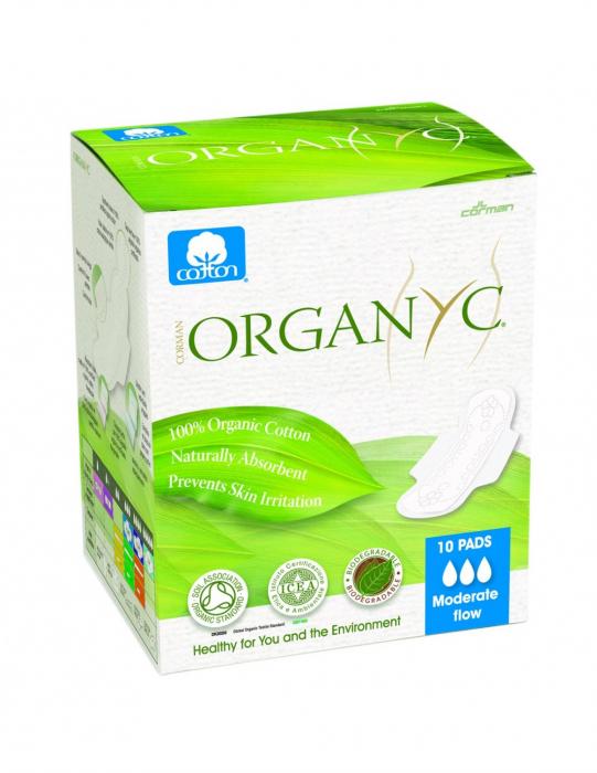 Organyc Bio absorbante intime din bumbac organic 3 picaturi - 10 buc [0]