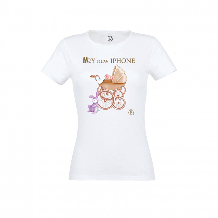 Tricou personalizabil femei model new iphone auriu 0