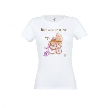 Tricou personalizabil femei model new iphone auriu0