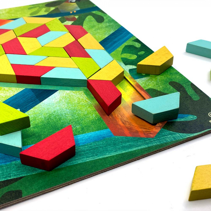 Joc educativ Tangram cu 80 piese din lemn si 4 planse cu model Svoora [3]