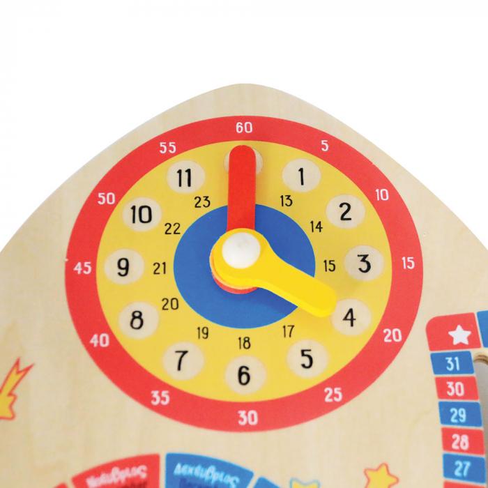 Jucarie educativa din lemn Calendar Spatial: Calendar, Ceas, Anotimpuri, Lunile anului [1]