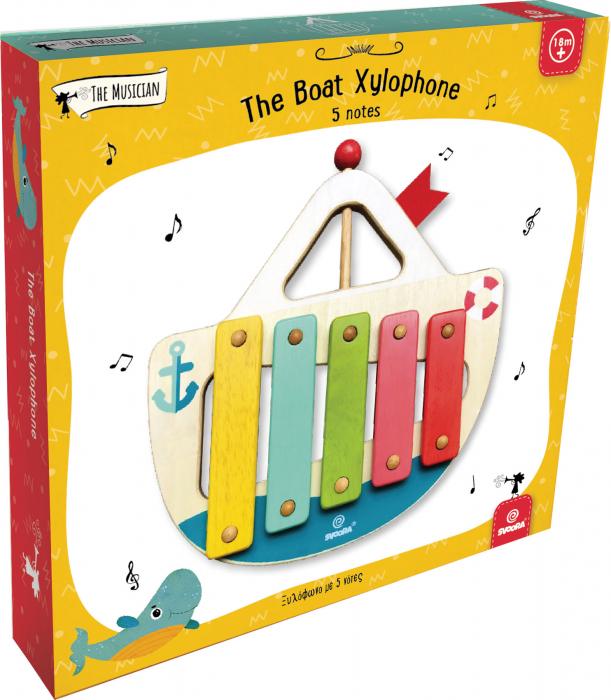 """Xilofon din lemn model """"Barcuta"""" cu 5 note [3]"""