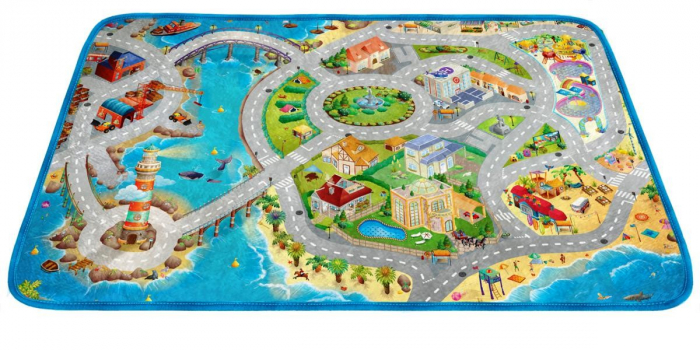 Covor de joaca pentru copii cu stradute model Seaside dimensiuni 100 x 150 cm 1