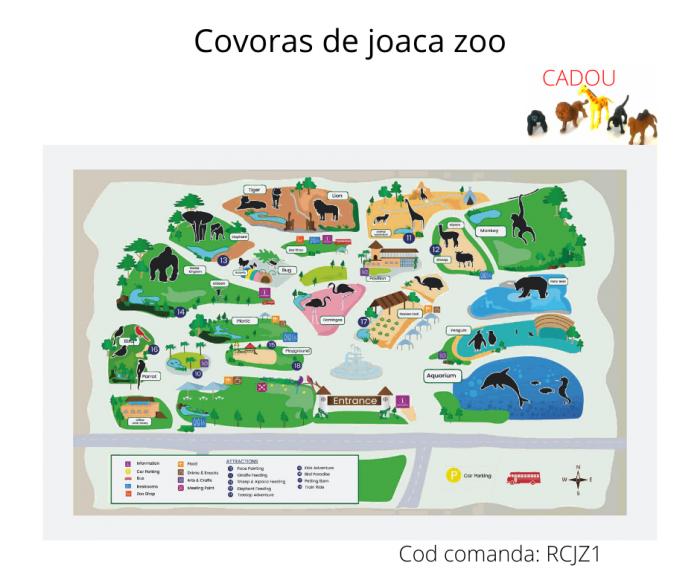 Covoras De Joaca Copii Pentru Podea Gradina Zoologica + 5 Figurine Cadou 3