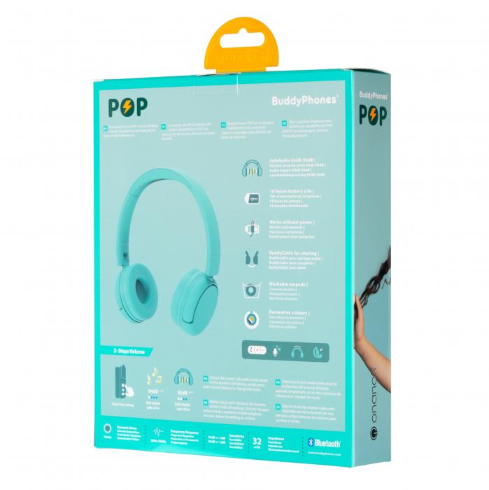 Casti wireless pentru copii, cu limitare nivel de volum POP BuddyPhones 1