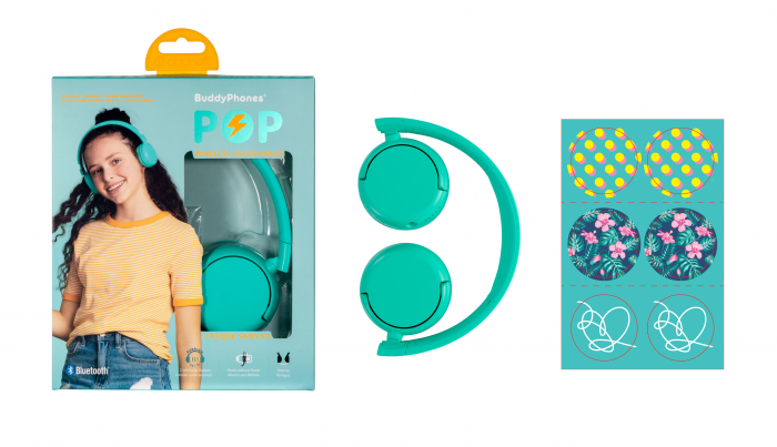 Casti wireless pentru copii, cu limitare nivel de volum POP BuddyPhones 6