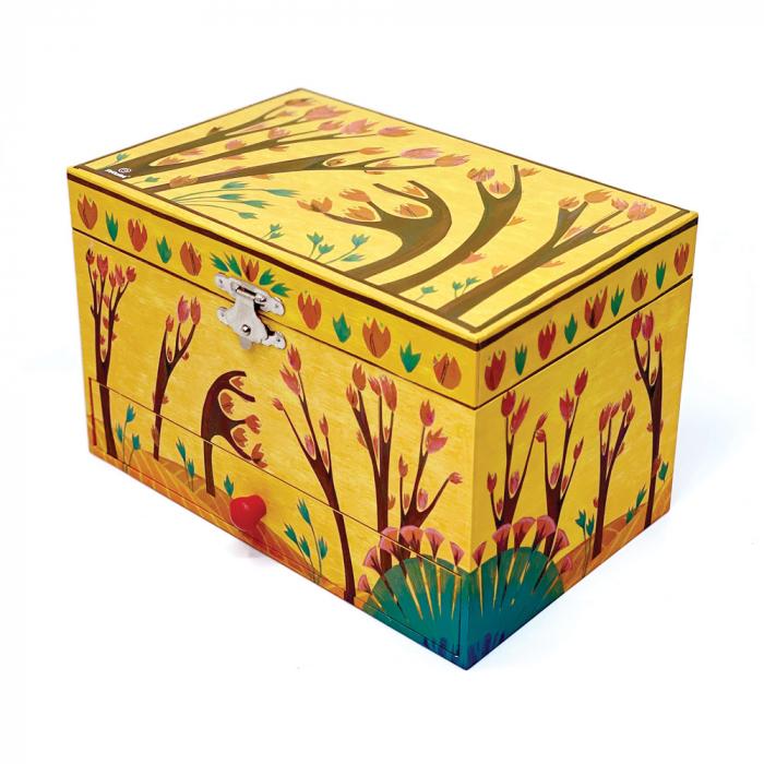 Cutiuta muzicala pentru bijuterii cu suport inele si sertar 'Forest Dance' [3]