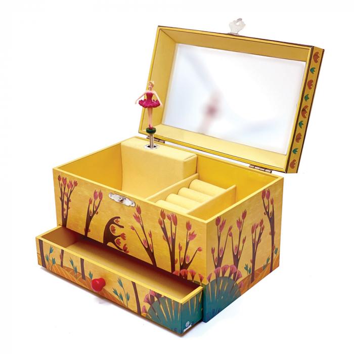 Cutiuta muzicala pentru bijuterii cu suport inele si sertar 'Forest Dance' [1]