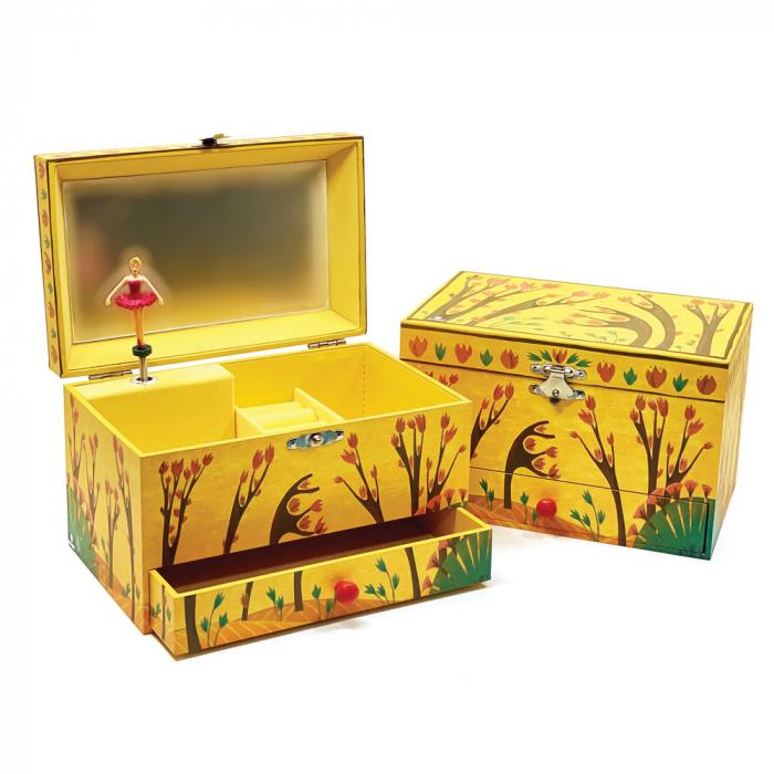 Cutiuta muzicala pentru bijuterii cu suport inele si sertar 'Forest Dance' [0]