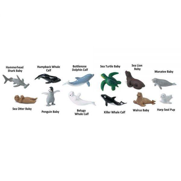 Set 12 Figurine Animale Pui Din Mare Safari Ltd [1]