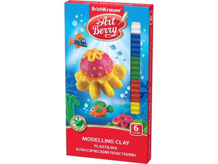 Plastilină ArtBerry cu Aloe Vera, 6 culori + cuțit modelaj 0