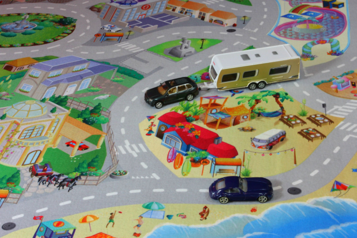 Covor de joaca pentru copii cu stradute model Seaside dimensiuni 100 x 150 cm 3
